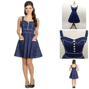Hell Bunny Vanity Dotted Dress in Navy